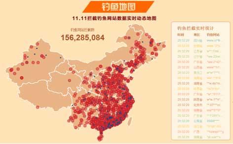 """""""双11""""中国网购钓鱼地图实时全景显示钓鱼网站分布"""