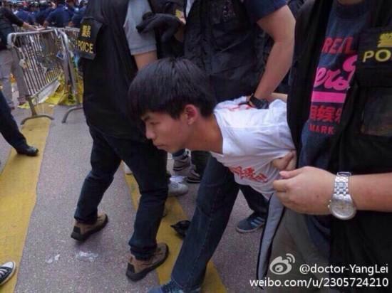 香港学联:黄之锋等人旺角清场行动中被捕(图)