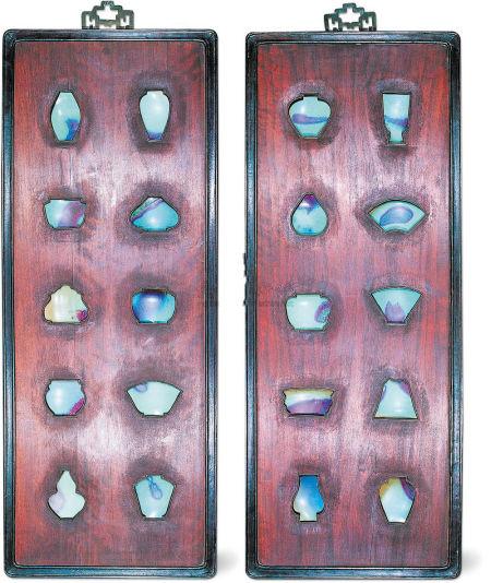 红木镶嵌钧窑瓷片挂屏,价格在10万元左右。