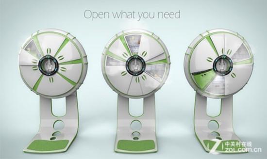 创意风扇形冰箱   这款冰箱采用了以清新淡雅的绿色为主色调,比较有趣的则是,这款电风扇外观的冰箱不仅的外观独特,其实内涵也很丰富。轻轻用手一推,就可以推开独立的冰箱门。在每个独立的格子上方,都带有LED液晶屏,显示了当前格子的温度。