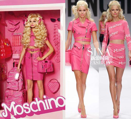 Moschino:真人芭比   2015春夏米兰时装周上,Moschino以唤醒少女梦想为主题,通过时尚icon 芭比娃娃,完成了自己的成衣秀。粉红的色调贯穿全场,不过不会觉得单调。夸张的配饰和印花的LOGO,以不现实的角度解读现实,也真是看得人心花怒放。   LOUIS VUITTON:摩登芭比