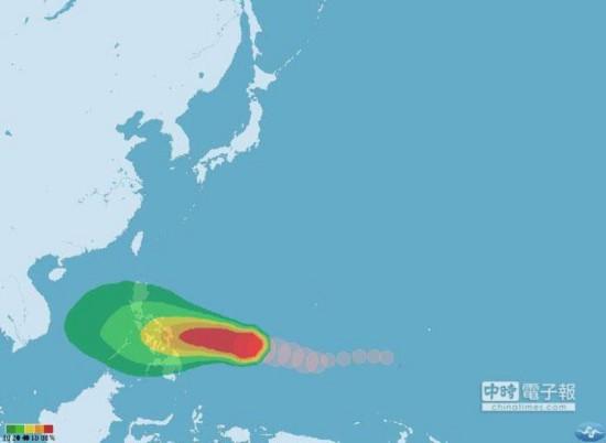 """哈格比台风七级风暴风圈侵袭机率图。(取自台湾""""气象局"""")"""