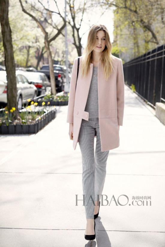 粉色大衣街拍
