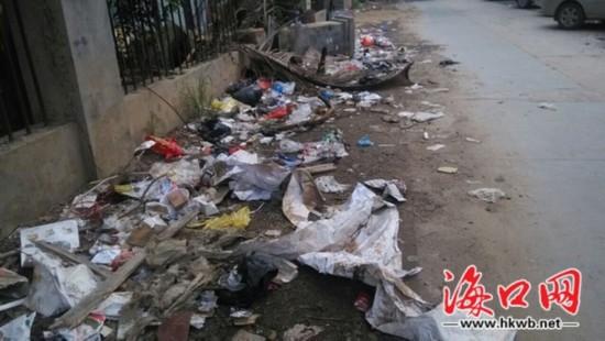 海口海甸岛一小路垃圾今年开始无人清扫(图)