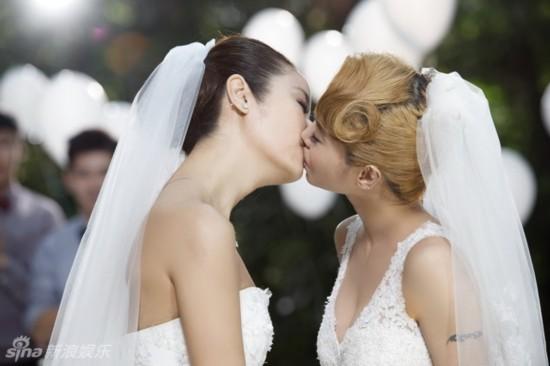 """蔡依林林心如""""结婚""""接吻图片"""