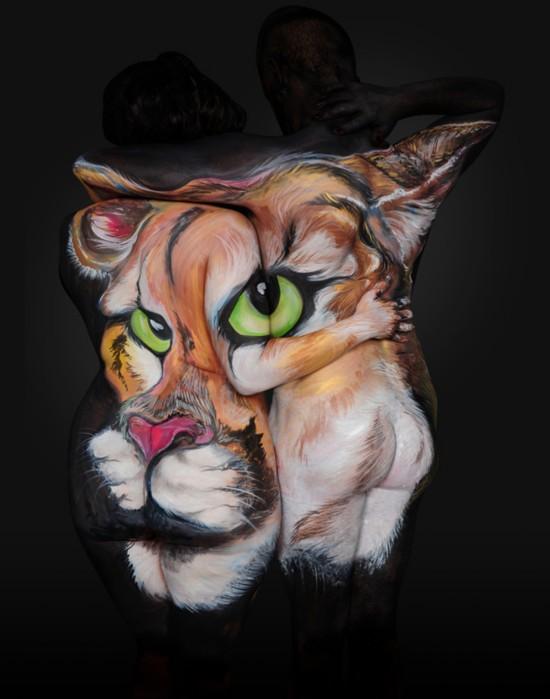 美艺术家创作人体彩绘 再现各色野生动物