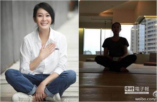 刘若英挺7个月孕肚做瑜伽身材明显发福(图)