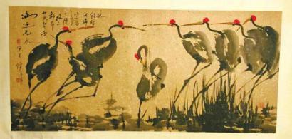 倪萍送给华西的生日礼物―国画《仙鹤》。