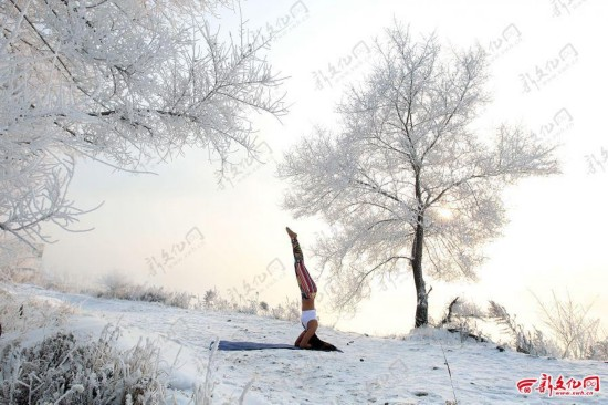 吉林女孩-30℃挑战冰雪瑜伽(组图)
