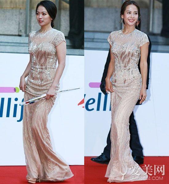 好惨烈!韩国青龙电影节女星迎面撞衫