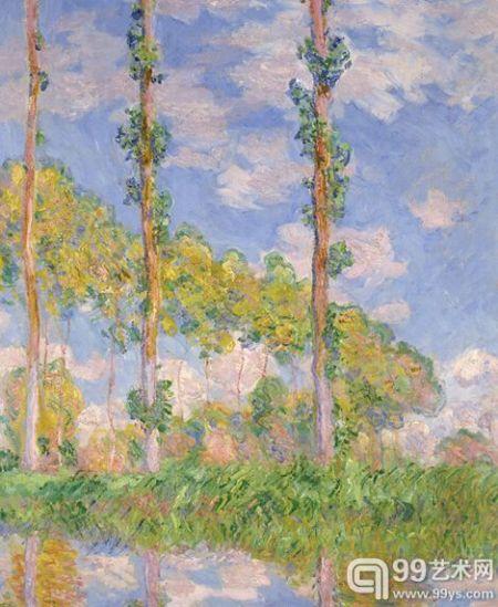 莫奈《阳光下的杨树》1891