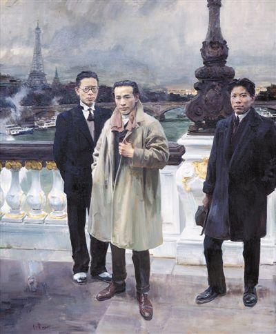 图为油画金奖何红舟作品《桥上的风景》。