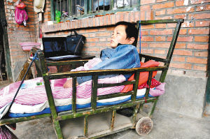 李飞飞躺在婴儿车上生活