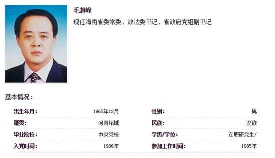 毛超峰任海南省政府党组副书记(图/简历)