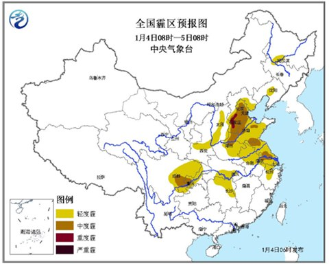 华北黄淮雾霾持续 明起全国大部迎雨雪