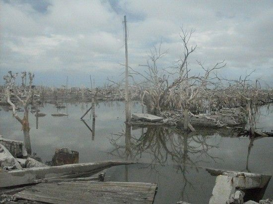 原本是阿根廷湖边度假胜地的埃佩昆,1985年遭遇了一场特大暴雨,使湖堤坝崩塌,决堤的湖水淹没了整个小镇。