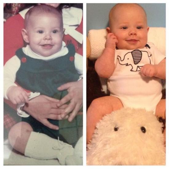 盘点如同双胞胎的父母与孩子童年对比照图片