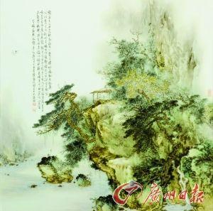 李小聪的粉彩山水瓷画作品《放鹤亭》。