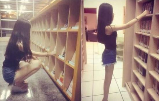"""台湾图书馆""""深蹲""""女神:被赞""""索腿天后"""""""
