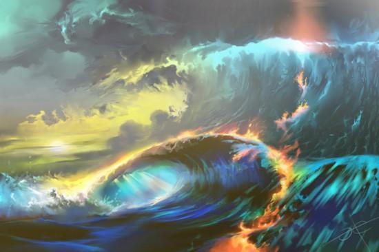 艺术家用数字绘画展示奇幻天空