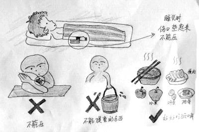 医生手绘漫画鼓励聋哑患儿手术
