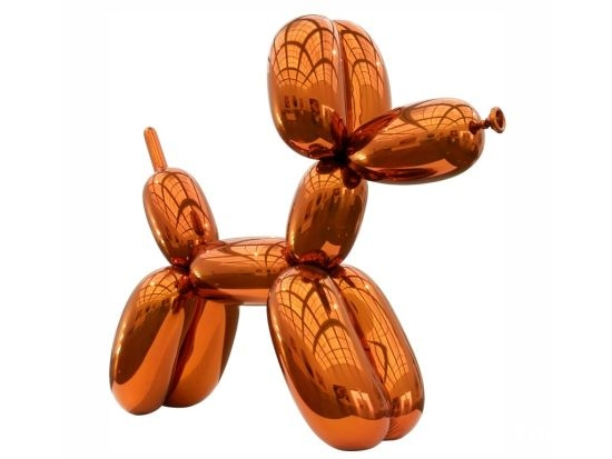 杰夫昆斯《Balloon Dog》1994=2000年. 307.3厘米×363.2厘米×114.3厘米,有蓝色、品红色、金黄色、红色和黄色五个版本