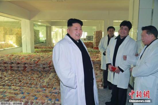 2015年1月18日,朝鮮領導人金正恩視察運動員食品工廠。