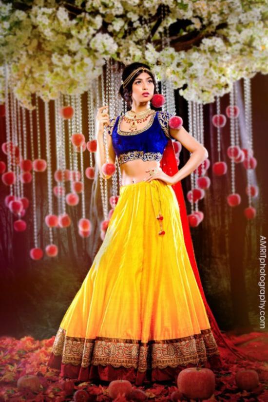 """美呆了!加公司推出9款""""迪斯尼印度新娘""""主题婚纱"""