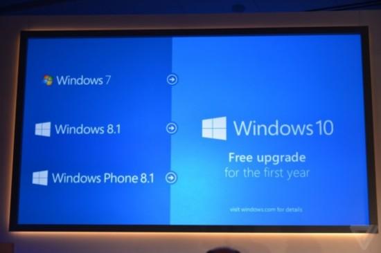微軟發布Windows 10:統一PC手機Xbox 面向Windows 7免費升級