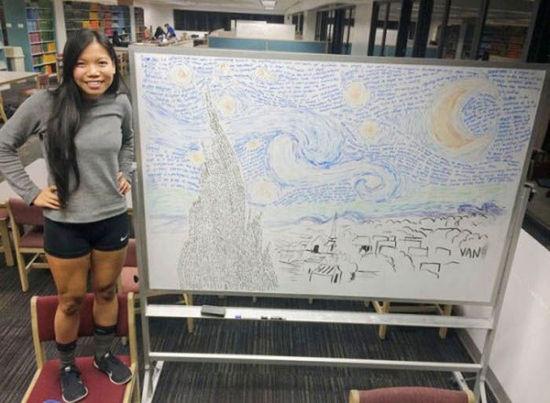 美国一女生将考试笔记拼成梵高名画