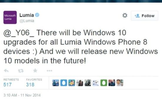 微软改口了?WP8手机大部分可升级Win10