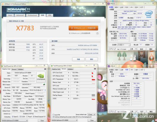 所以本次测试GTX980M/GTX980M SLI都由344.79驱动在win7 64bit系