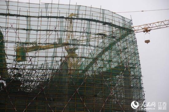 1月29日凌晨江西科技师范大学一在建体育馆工程发生坍塌。(郝士芳 摄)