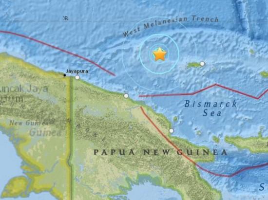 巴布亚新几内亚海域5.9级地震 震源深10千米