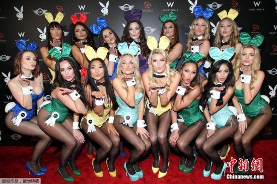 兔女郎亮相超级碗庆祝派对 美艳造型大秀火辣身材