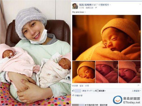 范玮琪晒双胞胎5连拍宝宝疑瞄镜头偷笑(图)