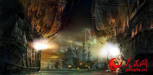 """上海迪士尼度假区将呈现全球迪士尼乐园中首个以海盗为主题的园区――""""宝藏湾""""。园区中的主要景点包括一个全新的游乐项目:""""加勒比海盗――沉落宝藏之战""""。"""