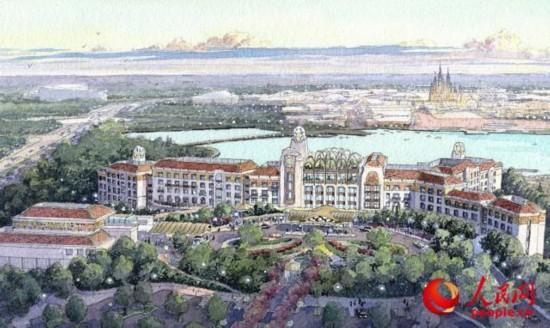 """上海迪士尼乐园酒店将成为上海迪士尼度假区标志性的酒店。这座拥有420间客房的酒店将以高雅的""""新艺术主义""""为设计风格,并充满迪士尼的神奇和想象力。游客可以在此一览上海迪士尼乐园、迪士尼小镇以及度假区中心湖区的壮丽景色。"""