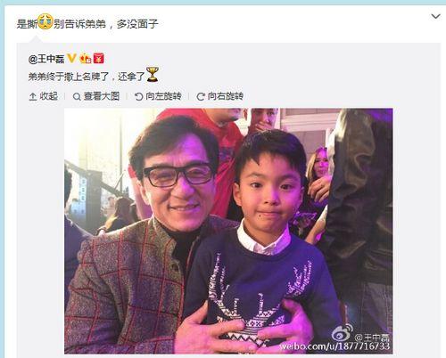 王中磊晒儿子与成龙合照发微博打错字遭调侃(图)