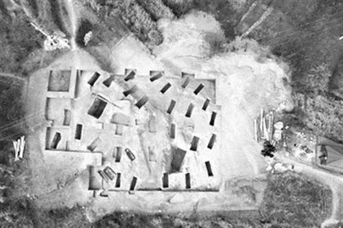 大冶铜绿山四方塘遗址墓葬发掘区航拍图。(湖北省文物考古所供图)