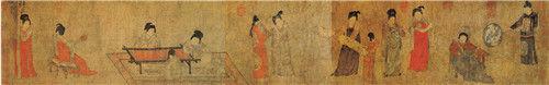 唐 周�P, 绢本设色 纵33.7厘米 横204.8厘米 北京故宫博物院藏