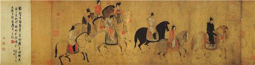唐 张萱 绢本设色 纵52厘米 横148厘米 辽宁省博物馆藏