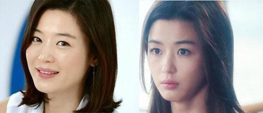 全智贤近照(左)与《星星》的剧照对比