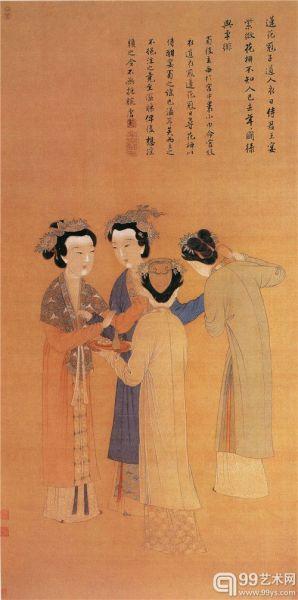 绢本,设色,纵124.7厘米,横53.6厘米,北京故宫博物院藏