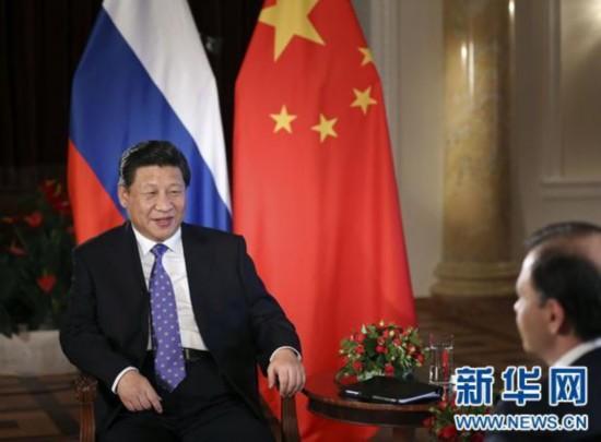 国家主席习近平在俄罗斯索契接受俄罗斯电视台专访