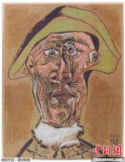 資料圖:當地時間2012年10月16日凌晨,荷蘭鹿特丹,康索現代藝術中心發生失竊案件,包括畢加索、梵高、莫奈、杜尚等人的一批油畫作品被盜,警方已經趕往現場進行調查。圖為荷蘭警方公布被盜的畢加索的畫作。
