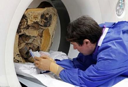 科学家在木乃伊体内发现了写有中国古文字的纸卷碎片。