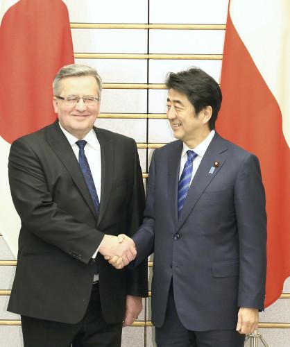 安倍会见波兰总统拟在安保能源等领域展开合作