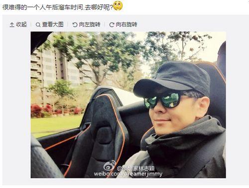 林志颖午后开车外出带墨镜造型帅气(图)