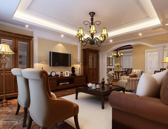 客厅的电视背景墙用简单的石膏线打造,更加符合欧式的审美.